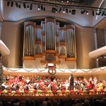 Concert hall decorated for the holidays