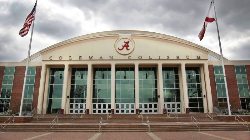 front of Coleman Coliseum on a cloudy day