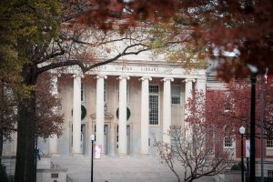 The exterior of Gorgas Library