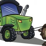 Illustration of a cockroach pulling a green tractor