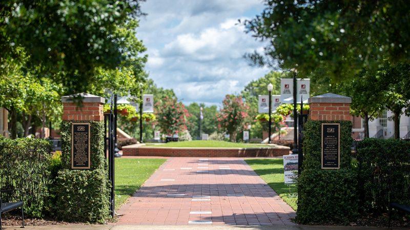 view of the Crimson Promenade walkway in summer