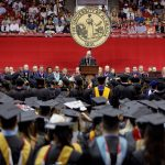 UA President Stuart R. Bell speaking at a commencement ceremony.