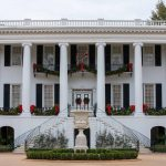 President's mansion with wreaths and ribbons