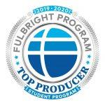 A circular logo designation as a Fulbright Program Top Producer