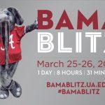 A image of UA's mascot, Big Al, standing beside a Bama Blitz logo.