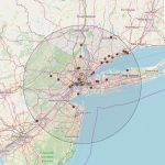 A screen shot from a computer of a map of the New York City area showing COVID-19 testing sites.