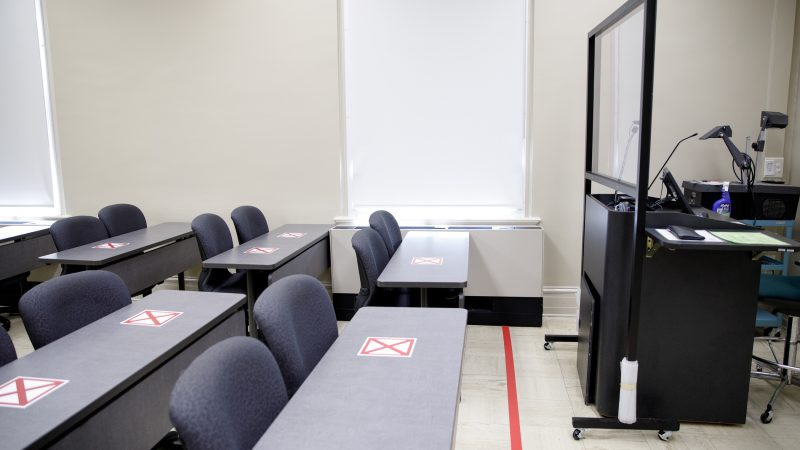 A classroom that has been modified due to COVID-19