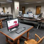 University Libraries computers spaced apart to incorporate social distancing