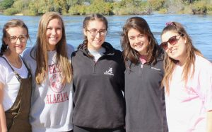 Izzey DeCarlo, Jessica Compton, Abigail Cooney, Rachael Castillo and Skylar Devers posing for a picture.