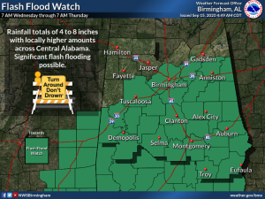 Map of the state of Alabama showing counties that are in the flash flood watch.