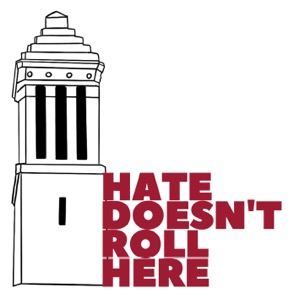 A One UA logo with the words Hate Doesn't Roll Here and a drawing of Denny Chimes