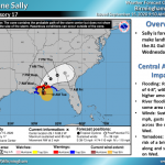 map of Hurricane Sally path through the Gulf of Mexico