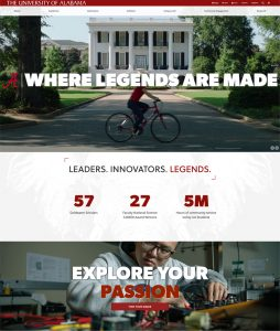 An image of a portion of the new ua.edu homepage