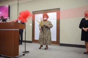 Dr. Christine Taylor cuts the ribbon on the new Intercultural Diversity Center.