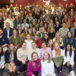 A large group of students who make up the university of alabama PRSSA chapter