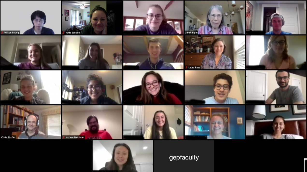 Biological sciences GEP students meeting for class on Zoom