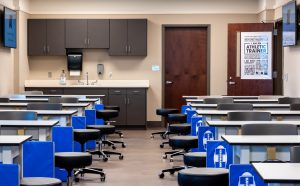 A classroom lab in the athletic training program's new facility