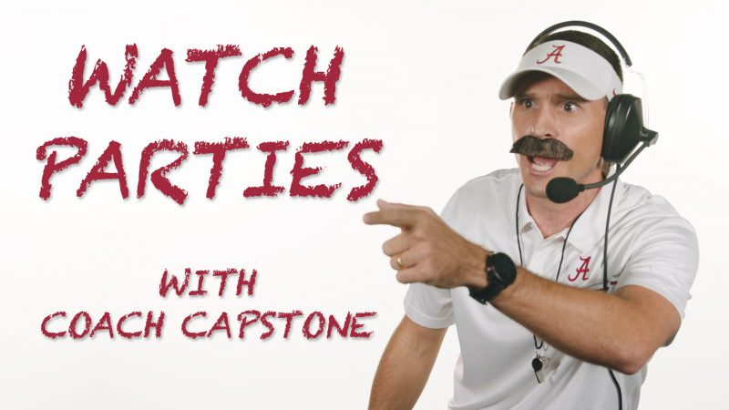 Image text states Watch Parties with Coach Capstone.