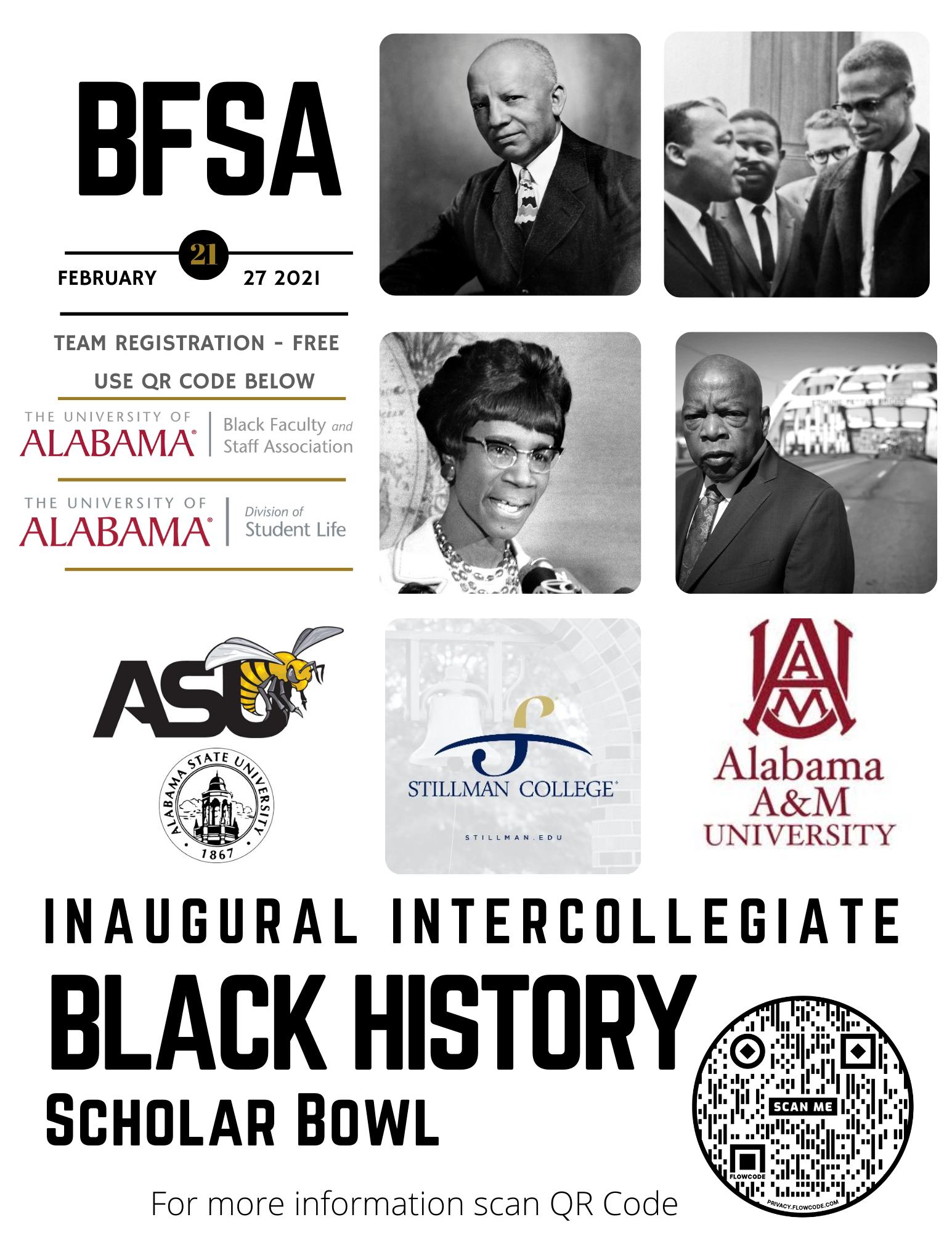 BFSA inaugural Dr. Trudier Harris Intercollegiate Black Scholar Bowl flier