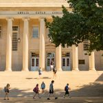 Students walking in front of Gorgas Library