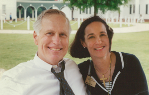 A photo of Pettus Randall III and Cathy Randall sitting outside