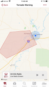 A map of Tuscaloosa County showing a weather warning polygon