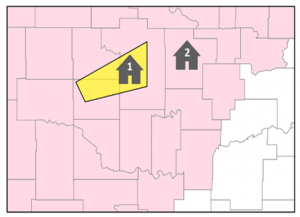 This example map from the National Weather Service shows counties under a severe thunderstorm watch shaded in pink with a yellow polygon indicating where a severe weather warning has been issued. Credit: National Weather Service