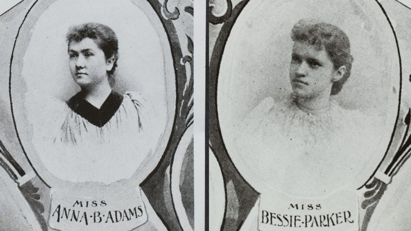black and white images of the first two female Ua students