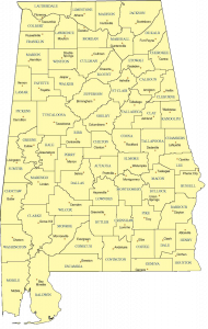 A map of Alabama showing the counties