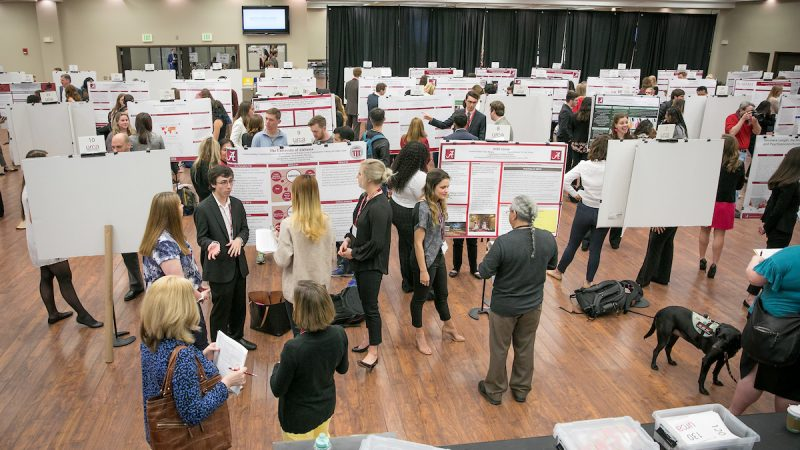 A crowd of people in a large room gather around research posters.