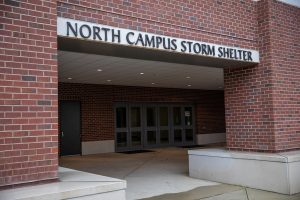 The exterior of the North Campus Storm Shelter