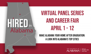 The Hired in Alabama poster with an image of the state of Alabama and event dates.