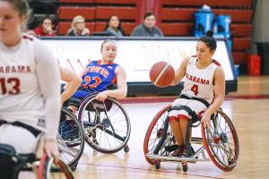 Wheelchair basketball players playing basketball.