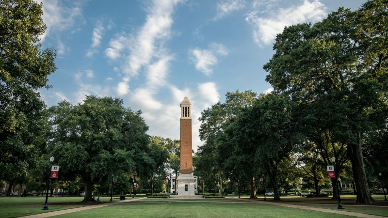 landscape photograph of denny chimes on the quad