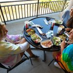 Students eating at Lakeside Dining Hall