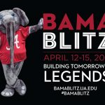 "Big Al mascot stands next to text reading ""Bama Blitz"" April 12 through 12, 2021, Building tomorrow's legeneds bamablitzua.edu #BamaBlitz"