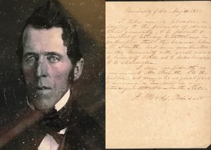 A headshot of John Smith and a letter of recommendation from the university's first president.