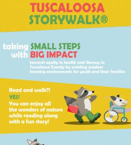 The StoryWalk poster with the date and time of the event