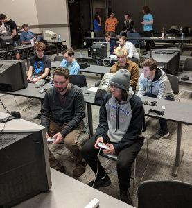 Crimson Smash Club members playing Super Mario Smash Bros. Melee in the Ferguson Student Center