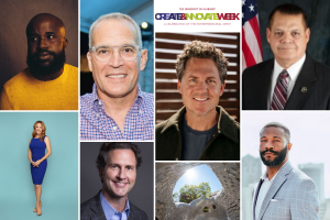 a collage of seven faces of the guest speakers for Create + Innovate Week