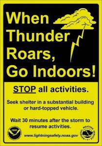 When thunder roads, go indoors. STOP all activities. Seek shelter in a substantial building or hard-topped vehicle. Wait 30 minutes after the storm to resume activities.