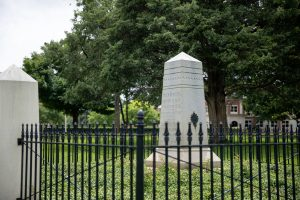 A large obelisk that serves as the grave marker for Peter Bryce and his wife Ellen