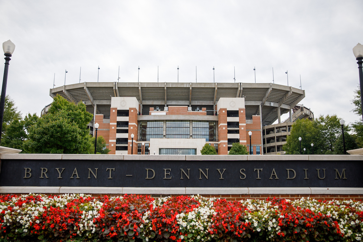 Centered, the University's football stadium can be seen with it's Bryant-Denny Stadium sign.