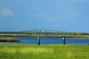 A long bridge spans a waterway surrounded by marshlands.