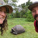 Two people pose for a photo in front of a giant tortoise.