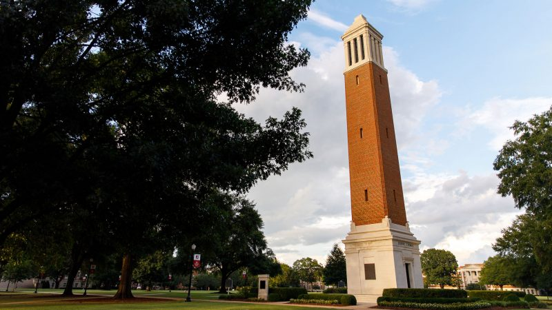 photograph of Denny Chimes at sunset