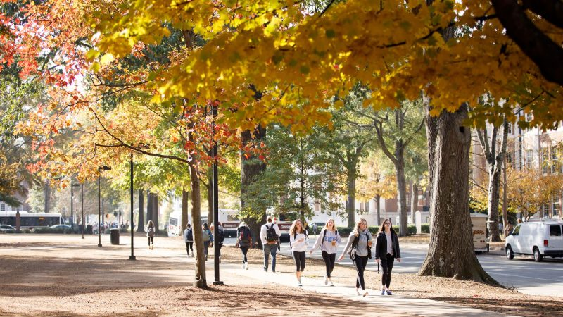 photograph of students walking along the Quad pathway in autumn