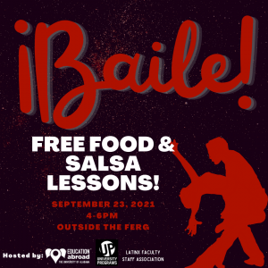 ¡Baile! promoting free food and salsa dance lessons