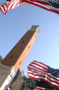 Denny Chimes with U.S. flags around the bottom of it.