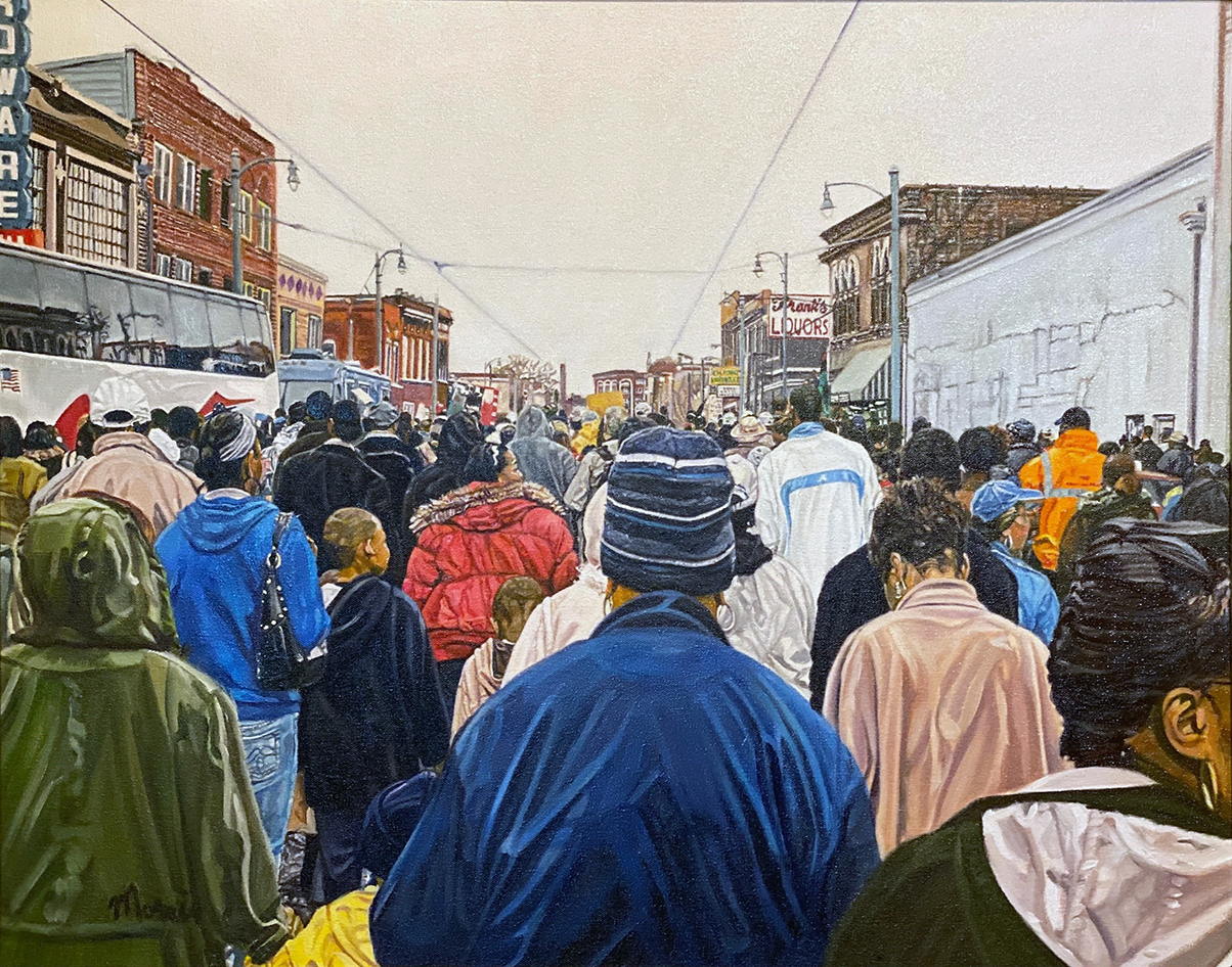 oil painting of the backs of individuals marching down a street